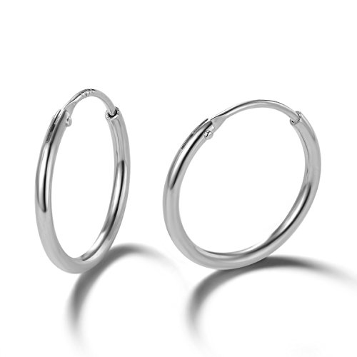 Carleen 14K White Gold Plated 925 Sterling Silver Dainty Small Tiny Endless Hoop Sleeper Earrings for Women Girls ()