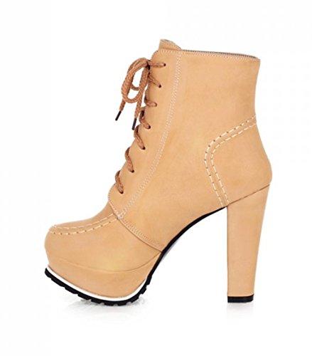 Haut Straps de Fête Women de Bottes Platform Mariée Talon de à Vintage Talons Hauts Bas Chaussures Apricot Kitzen Pump 17Aww