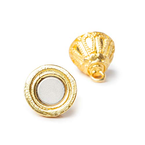 Gold Plated Magnetic Clasp - 15x30mm 22kt Gold Plated Copper Magnetic Clasp Miligrain Bicone 1 Piece