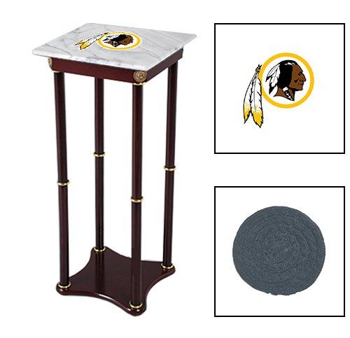 Square White Marble Top Accent Table Featuring the Choice of Your Favorite Football Team Logo on the Top Shelf! FREE Coaster Included! (Redskins)