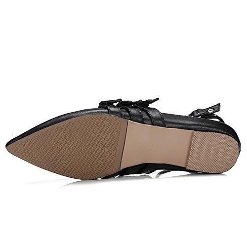 Donna In Pelle Di Vacchetta Nove A Punta Piatta Cinturino Con Cinturino In Pelle Con Borchie Stile Balletto Nero