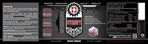 DYSRUPT: BCAA's+Caffeine with Electrolytes:: Zero calories- Decrease muscle break down, burn more fat, increase endurance, and achieve greater focus(Grape Smash)