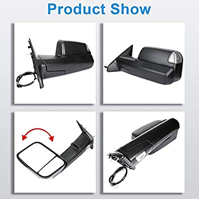 ECCPP Towing Mirrors fit for 2009-16 Ram 1500 Pickup Signal Lights Pair Power Heated Passenger & Driver Side Side Mirrors: Automotive