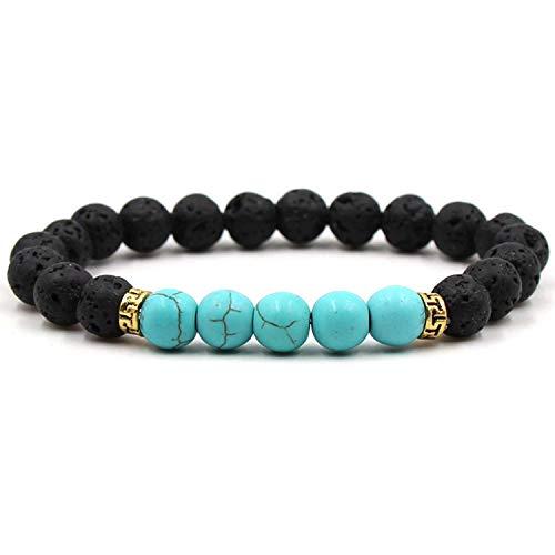 xiaoxiaoland Buddha Bless Lose Weight Chakra Bracelet Black Lava Healing Balance Beads Reiki Prayer Natural Stone Bracelet for Women,4