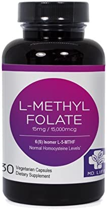 Save MD.LIFE L-Methyl Folate 5-MTHF 15 mg 30 Capsules Metabolically Active Form of Folic Acid Scientifically Formulated B Vitamin Blend with B12, B9, Niacin, B1, B2 and B6 30 Caps