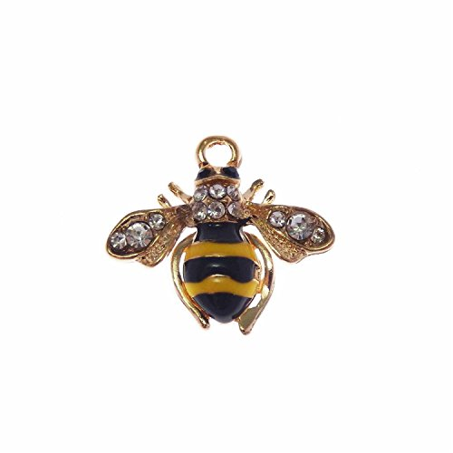 JulieWang 12pcs Enamel Bees Charms for Women Jewelry Necklace Making Pendants - Bee Enamel Charm