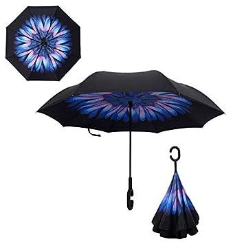 HEXCGHF Paraguas Paraguas Reversible Plegable del Doble de la Lluvia del Paraguas del revés de la