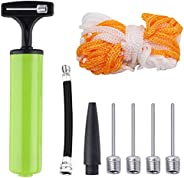Ball Pump, Hand Pump with Pump Needles, Air Hose and Football Net, Inflator Kit for Basketball, Football, Voll