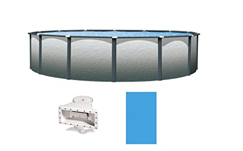 Wilbar Reprieve Slate Constellation 24-Feet-By-52-Inch Round Above-Ground Swimming Pool Includes Solid Blue Liner and Widemouth Skimmer
