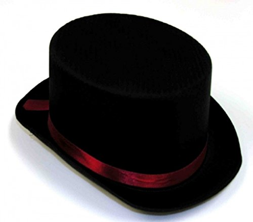 Deluxe Black Top Hat With Red Band - Dickens Steampunk