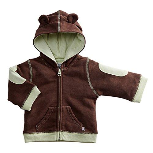 Babysoy Unisex-Baby Newborn Soft Fleece Hoodie, Chocolate, 6-12