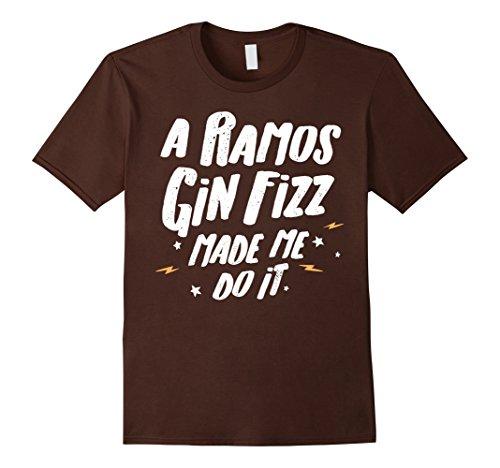 Mens Ramos Gin Fizz T-Shirt - A Ramos Gin Fizz Made Me Do It! Small Brown