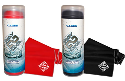 #1 Hottest Selling Elite Microfiber Cooling Towel on the Market by Way 2 Cool (Red and Black)