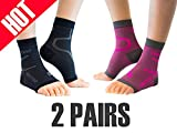Thirty 48 Plantar Fasciitis Socks, 20-30 mmHg Foot Compression Sleeves for Ankle/Heel Support, Increase Blood Circulation, Relieve Arch Pain, Reduce Foot Swelling (Black & Pink (2 Pairs), X-Large)