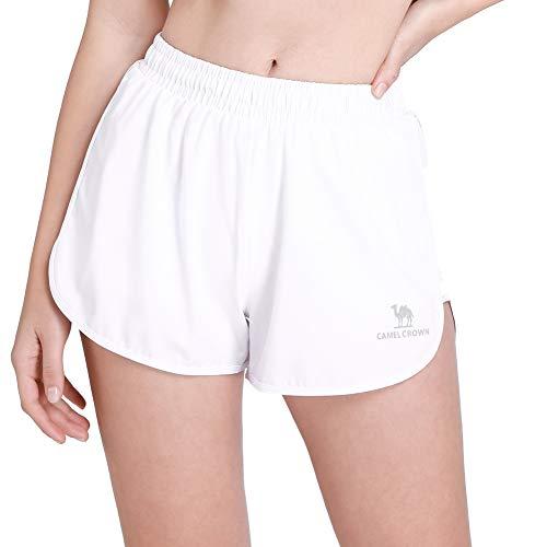CAMEL Women's Running Shorts 3'' Athletic Shorts Double Layer Elastic Waistband Sport Shorts for Workout Fitness Gym Training(Medium) White