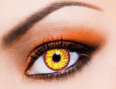 Farbige orange funlinsen, crazy contact lenses ORANGE WEREWOLF, Werwolf 1 Paar. Mit gratis Linsenbehälter!
