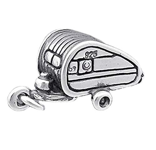 Travel Teardrop Camping Trailer Camper Caravan 3D .925 Sterling Silver Charm Ideal Gifts, Pendant, Charms, DIY Crafting, Gift Set from Heart by Wholesale Charms ()