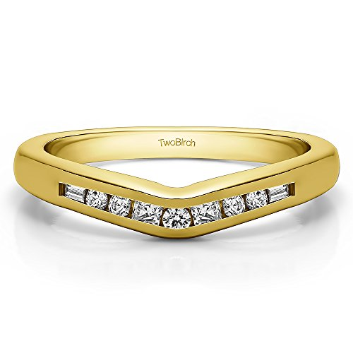 CZ Ring with Princess, Round and Baguette Stones In Yellow Silver(0.2Ct)Size 3 To 15 in 1/4 Size (0.2 Ct Baguette)