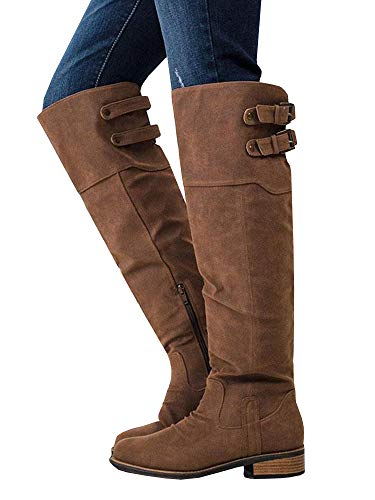 Ermonn Womens Wide Calf Riding Boots Knee High Buckle Strap Suede Low Heel Combat Boots (Buckle Thigh Boot High)