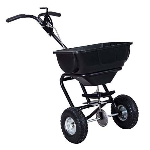 Broadcast Spreader Duty Heavy (Goplus Broadcast Spreader Garden Seeder Builder Fertilizer Push Walk Behind Black)