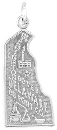 - Oxidized Sterling Silver Charm, State of Delaware, 1-1/4 inch