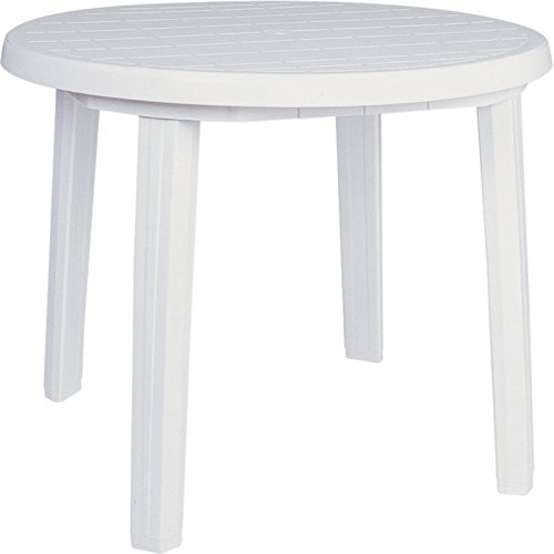 Compamia Ronda 36″ Round Resin Patio Dining Table in White, Commercial Grade