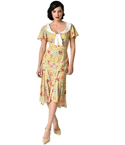 Unique Vintage 1920s Style Yellow Wildflower Print Wilshire Flapper Day (Wildflower Dress)
