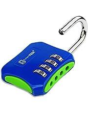 Hangslot met cijfercode 4 cijfers voor kluisjes, sport, school- of fitnessstudio, buitendeur/veiligheidsslot zonder sleutel, met cijfercombinatie in verschillende kleuren (blauwgroen)