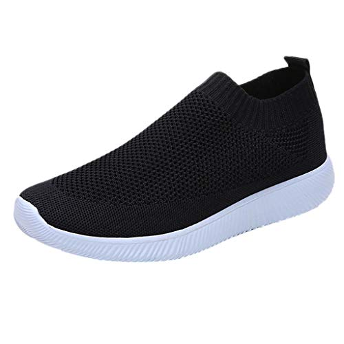 (Kauneus Walking Shoes for Women Lightweight Athletic Slip-On Running Shoes Fashion Sneakers Sports Shoes Black)