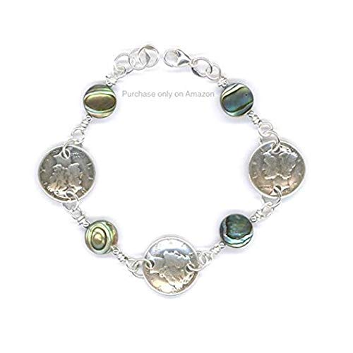 1939 Dimes Bracelet with Abalone Shell Beads