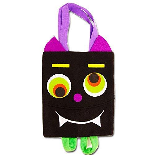 Halloween Trick or Treat Bag Kids Toddler with Backpack Straps (Vampire Bat Design Bags, Bonus Halloween Party Pack) (Goody Bags For Halloween In Preschool)