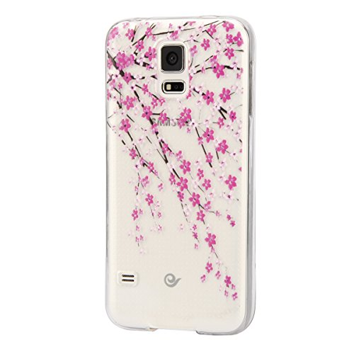 Price comparison product image IKASEFU Transparent Clear Rubber Case for Samsung Galaxy S5,Pretty Pink Bloosom Flower Slim Flexible Soft Gel Tpu Case Cover for Samsung Galaxy S5