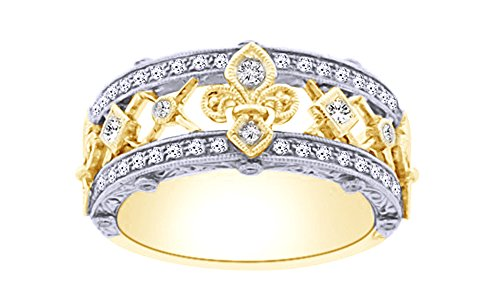 AFFY Round Cut White Natural Diamond Fleur De Lis Ring in 10k Solid Gold (0.5 Cttw)