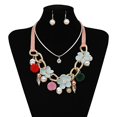 IPINK Women's Fashion Jewelry Pearl Multi-pearl Shell Necklace Chokers Chains Earring Jewelry Set (Style 7)