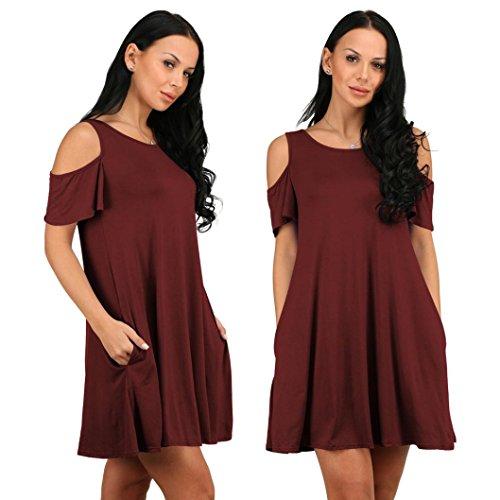 OverDose mujer vestido algodón flojo sólido sin hombros mini vestidos Rojo