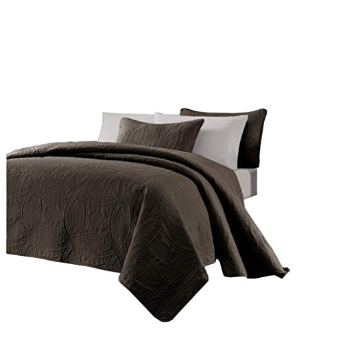 - Chezmoi Collection Austin 3-Piece Oversized Bedspread Coverlet Set (King, Chocolate)