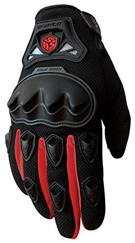 CRAZY AL'S MC29 Motorcycle Full-Finger Gloves Sporty Full-Finger Anti-Slip Motorcycle Gloves for SCOYCO Red Blue Black M/L/XL (L, Red)