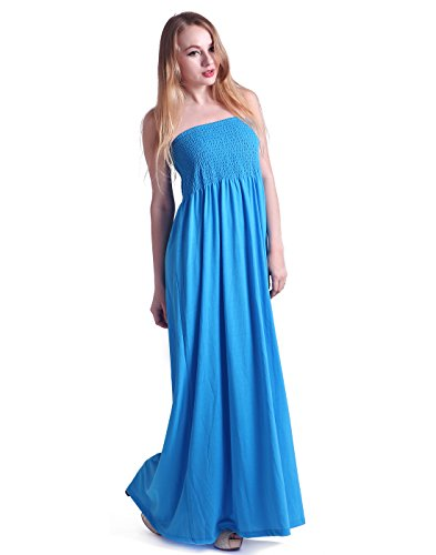 HDE Women's Strapless Maxi Dress Plus Size Tube Top Long Skirt Sundress Cover Up,2X Plus,Blue