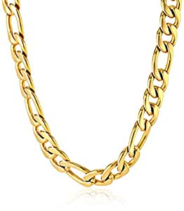 Cold Steel Stainless Steel and Yellow Immersion Plate 3 in 1 Figaro Men's Link Necklace