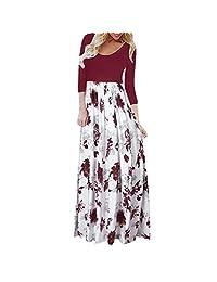 DaySeventh Womens Dresses Casual Sleeve O-Neck Print Maxi Tank Long Dress