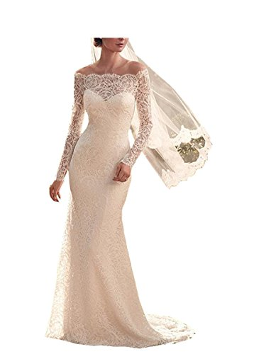 WeddingDazzle Lace Applique Long Sleeve Mermaid Bridal Dress Wedding Gown For Women's4 White Stock Applique