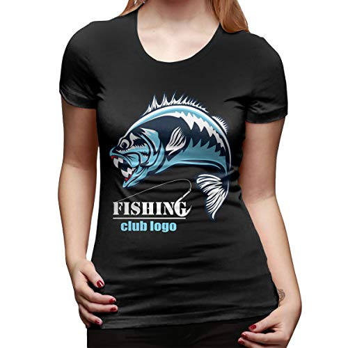 Hengteng Women Custom Tops Tees Fishing Logo. Bass Fish with Rod Club Emblem Short Sleeve Cool T Shirts Black L