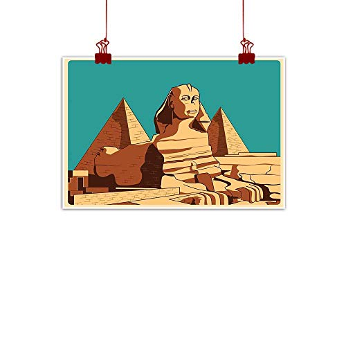 ve Art Print Egyptian,Vintage Poster of Sphinx and Pyramids in Giza Ancient Famous Monument Cairo,Teal Pale Brown 36