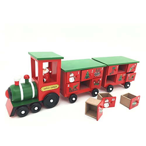 17.5 Inch Christmas Wooden Advent Calendar Train with Hand Painted Santa Claus and 24 Drawers to Fill Candy or Small Gifts by Shanghai Pioneer Effort Arts&Crafts Co.,Ltd