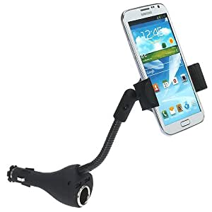 iKross Universal Cigarette Car Mount Holder with 2 USB Port and Extra Socket for Samsung, HTC, Huawei, Blackberry, iPhone, LG, Motorola Cell Phone, Smartphone, Mobile Window Phone and more ** include Micro-USB Data Cable