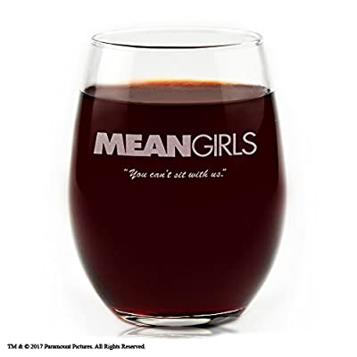 "Movies On Glass - Mean Girls Movie Logo with Quote ""You Can't Sit with Us!"", Engraved Stemless Wine Glass"