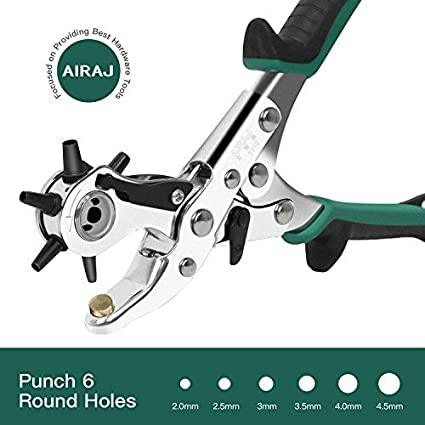 Drill Bits Leather Punch Professional Leather Hole Punch Belt Hole Punch Set Round Holes 6 Size For Belts Saddles Card Fabric Rubber Pape