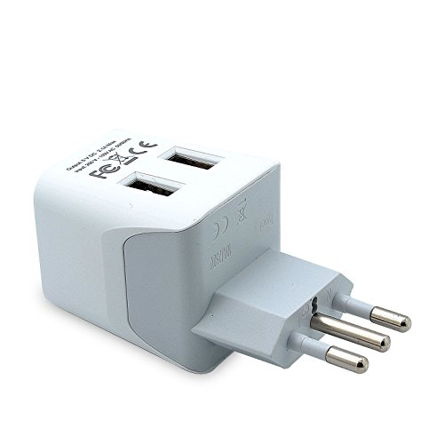 Lightweight Italian - Ceptics CTU-12A USA to Italy Travel Adapter Plug With Dual USB - Type L - Ultra Compact