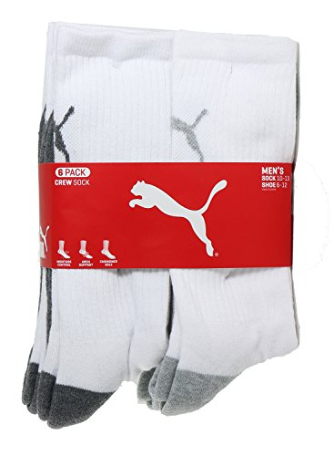 Puma Men's Crew Sock, White/Grey, 10-13 (Pack of 6)