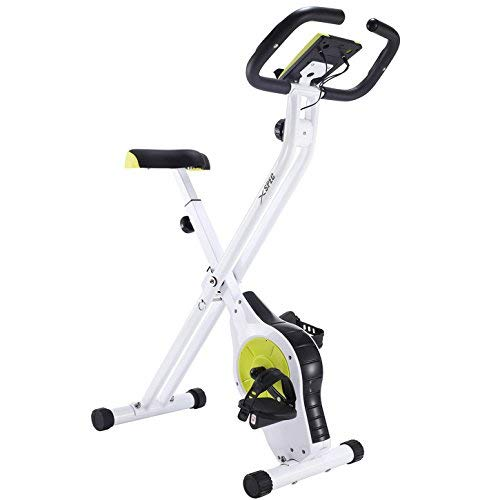 Xspec Foldable Stationary Upright Exercise Bike Magnetic Cardio Workout Indoor Cycling, Lime Green, Monitor with Phone/Tablet Holder, Heart Rate Pulse Sensor